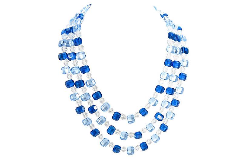 1960s Blue Crystal Multi-Strand Necklace