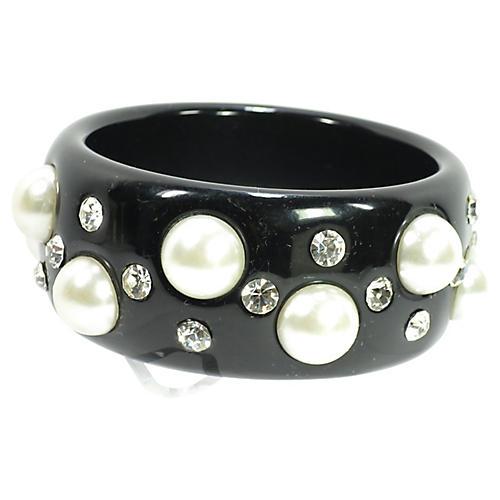 1980s Pearl & Crystal Bangle Bracelet