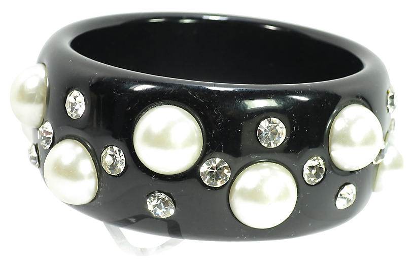 1980s Pearl & Crystal Bangle Bracelet