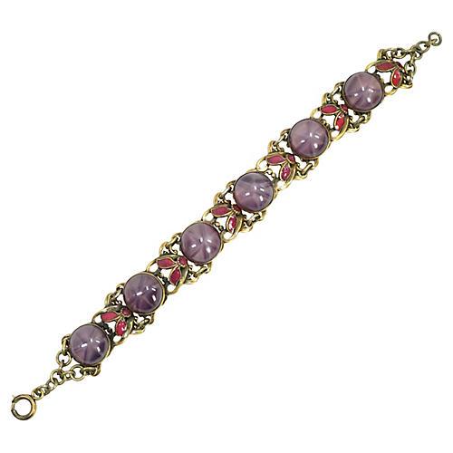 1920s Czech Amethyst Star Bracelet