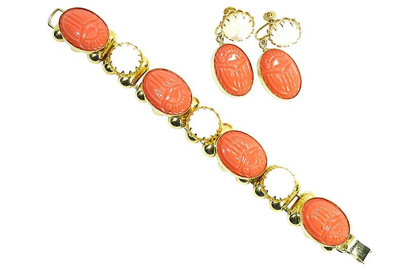 1950s Coral Lucite Scarab Bracelet Set
