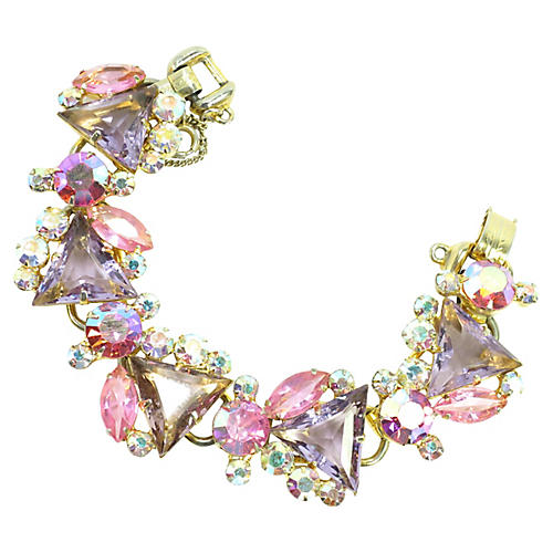 1960s D&E Juliana Lilac Crystal Bracelet
