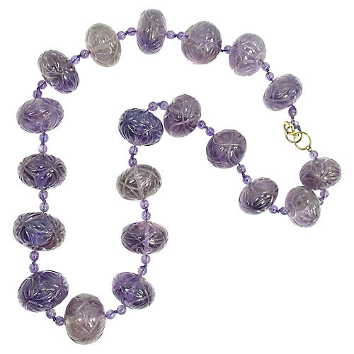 1920s Art Deco Carved Amethyst Necklace