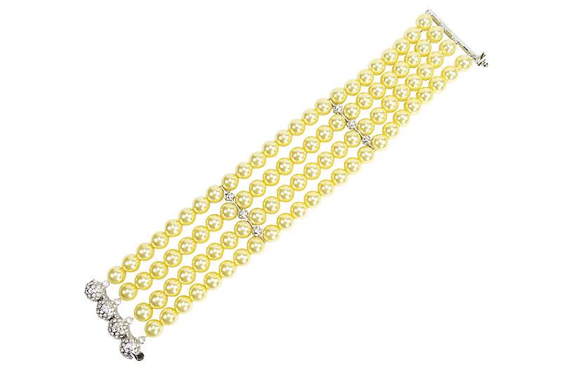 1970s Sterling & Glass Pearl Bracelet