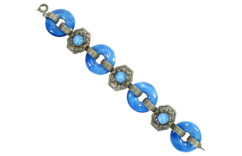 1930s Art Deco Blue Art Glass Bracelet