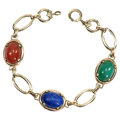 1920s Art Deco Art Glass Link Bracelet