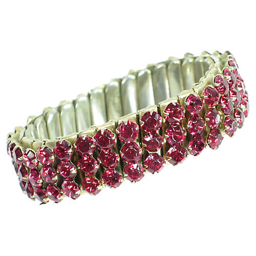 1940s Ruby Crystal Expansion Bracelet