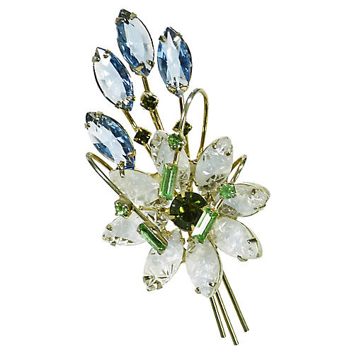 1950s Austria Crystal Bouquet Brooch