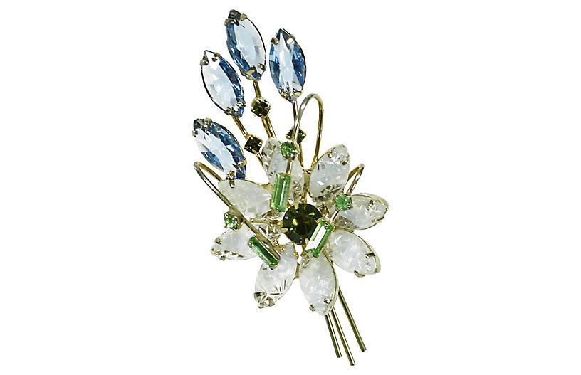 1950s Austria Crystal Bouquet Brooch