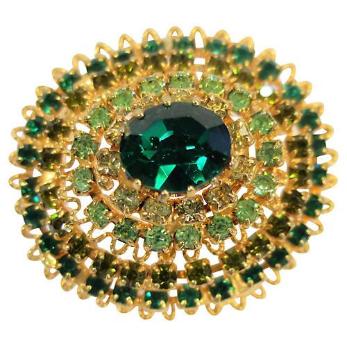 1950s Austria Crystal Domed Brooch