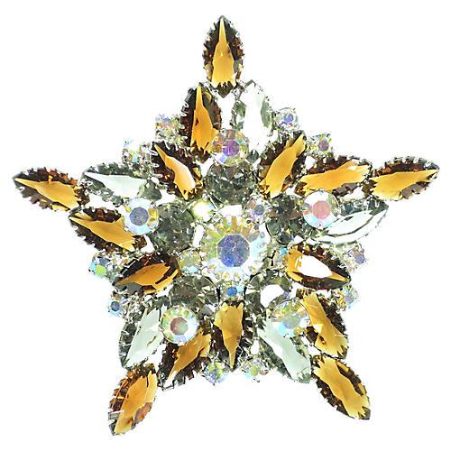 1950s Amber Crystal Star Brooch