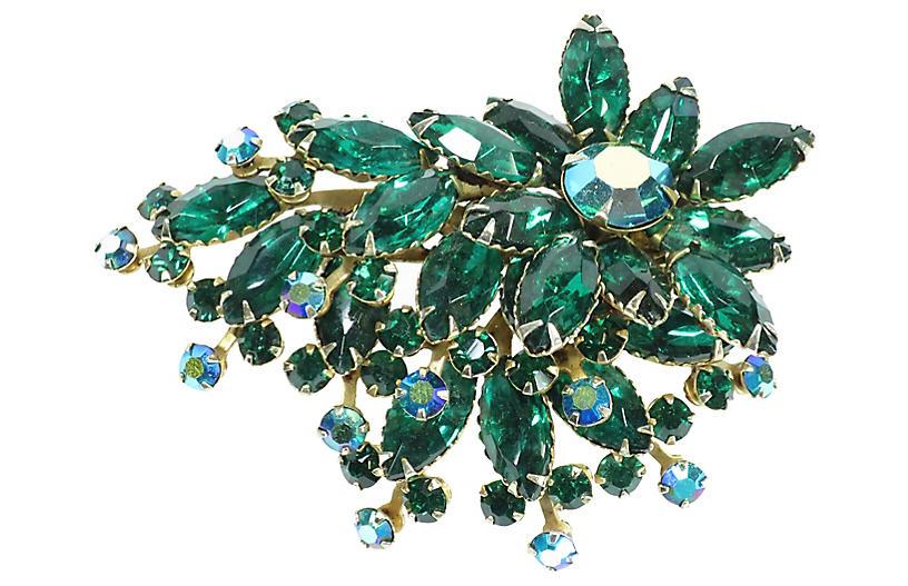 1950s Beau Jewels Green Crystal Brooch