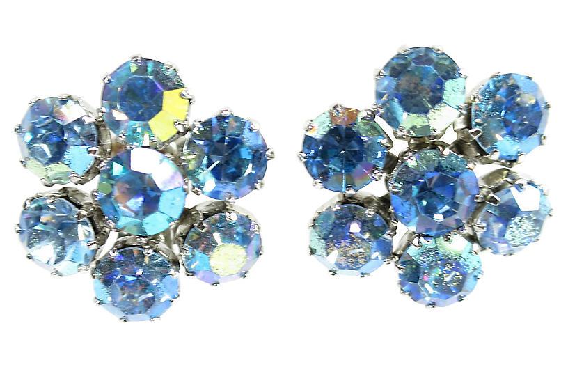 1950s Weiss Blue AB Crystal Earrings