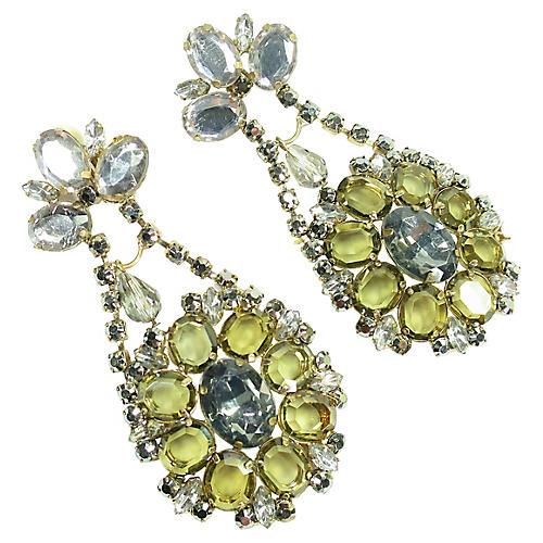 1960s Massive Mirrored Glass Earrings