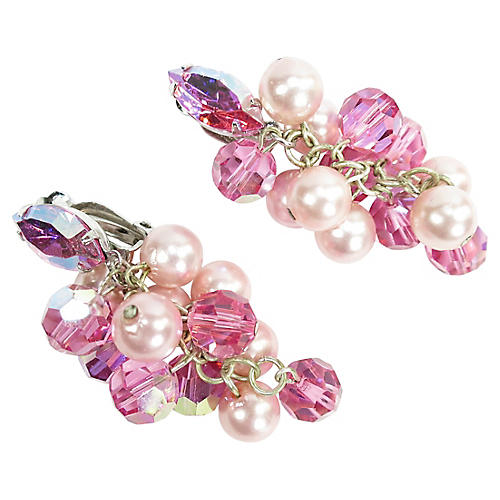 1960s Lewis Segal Pink Crystal Earrings