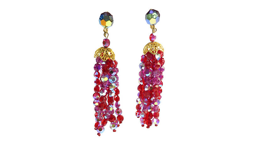 1950s Vogue Red AB Crystal Earrings