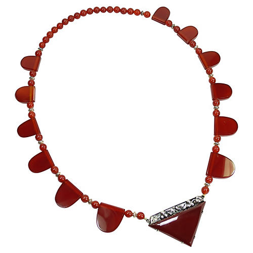 1900 Germany Sterling Carnelian Necklace