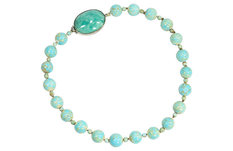 1920s Czech Turquoise Art Glass Necklace