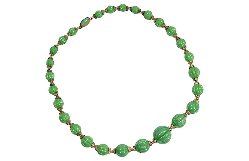 1920s Czech Melon Art Glass Necklace