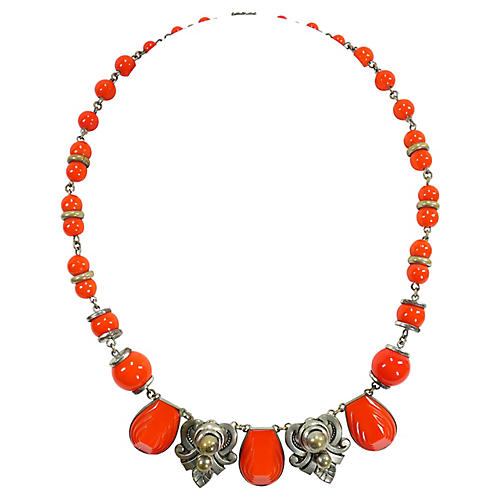 1930s Czech Coral Art Glass Necklace