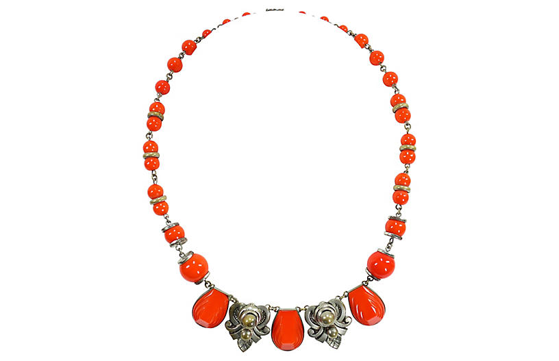 1930s Czech Coral Art Glass Necklace