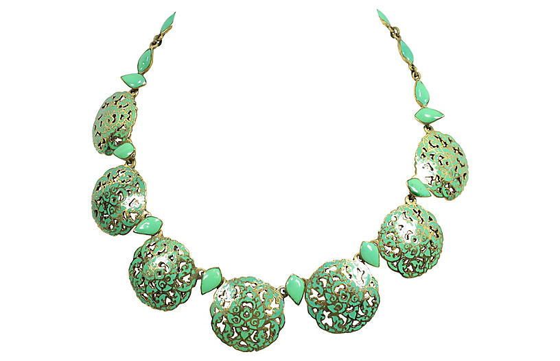 1940s Siam Sterling & Enamel Necklace