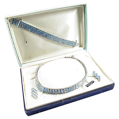 1930s Art Deco Rhodium Blue Crystal Set