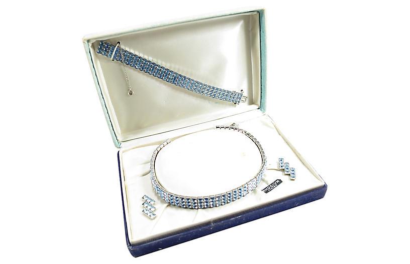 1930s Art Deco Rhodium Blue Crystal Set