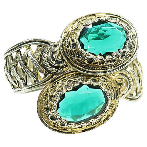 1940s Emerald Crystal Bypass Bracelet