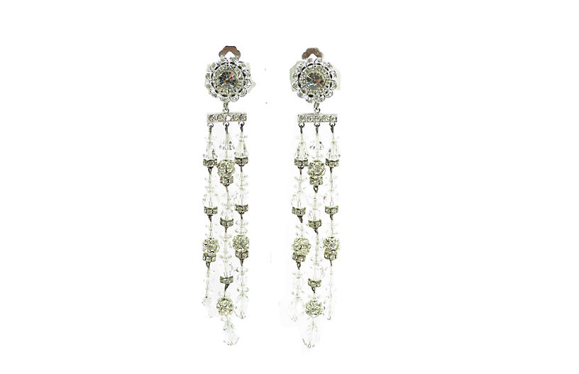 1960s Crystal Chandelier Drop Earrings