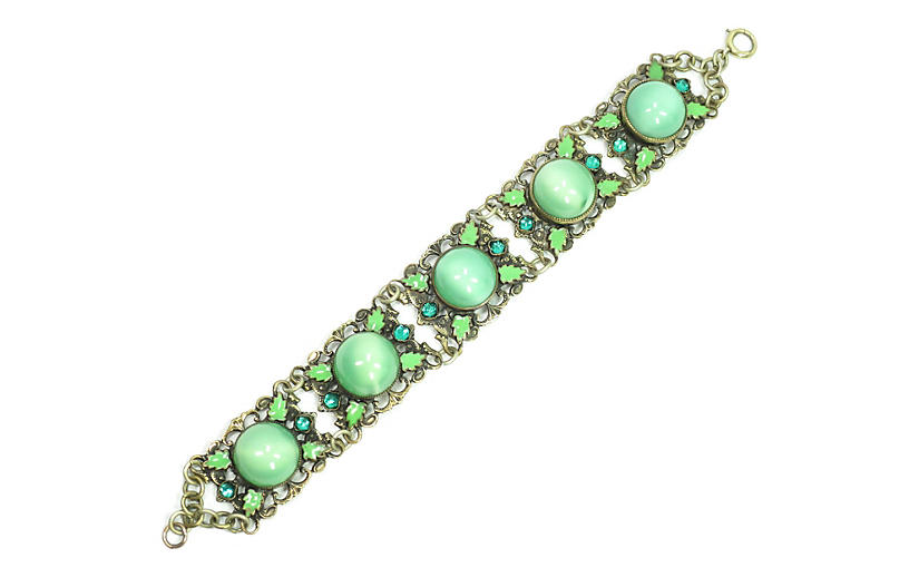 1920s Czech Deco Green Cats-Eye Bracelet