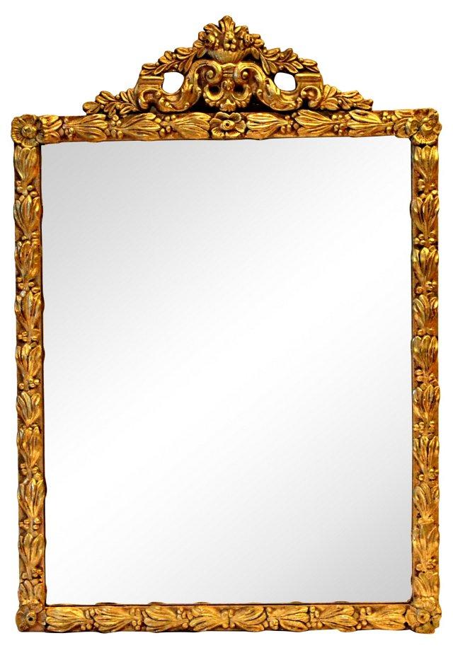 Giltwood Mirror w/ Floral Decoration
