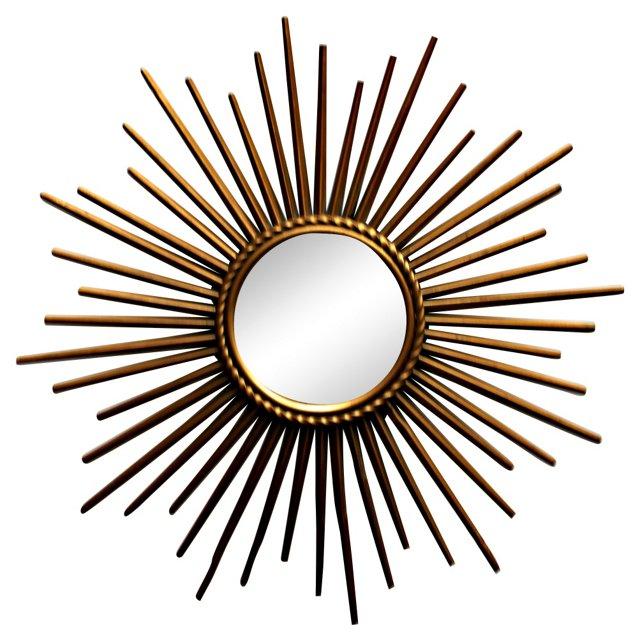 French Tole Sunburst Mirror