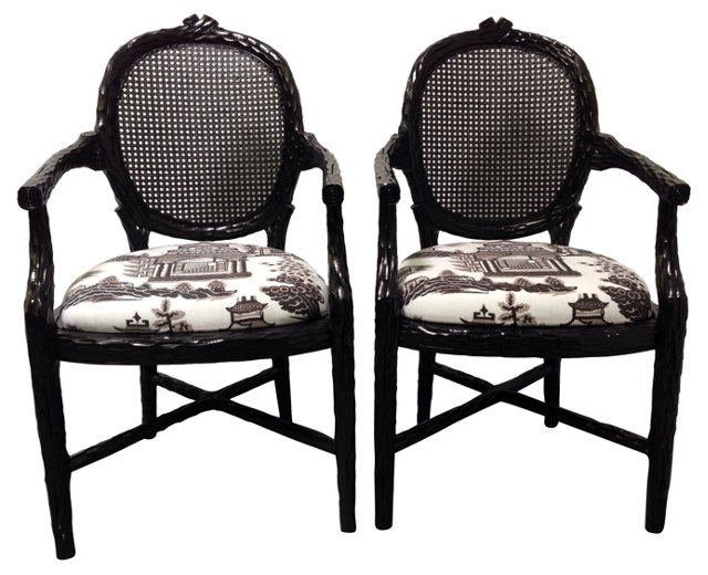 Lacquered Armchairs w/ Wood Motif, Pair