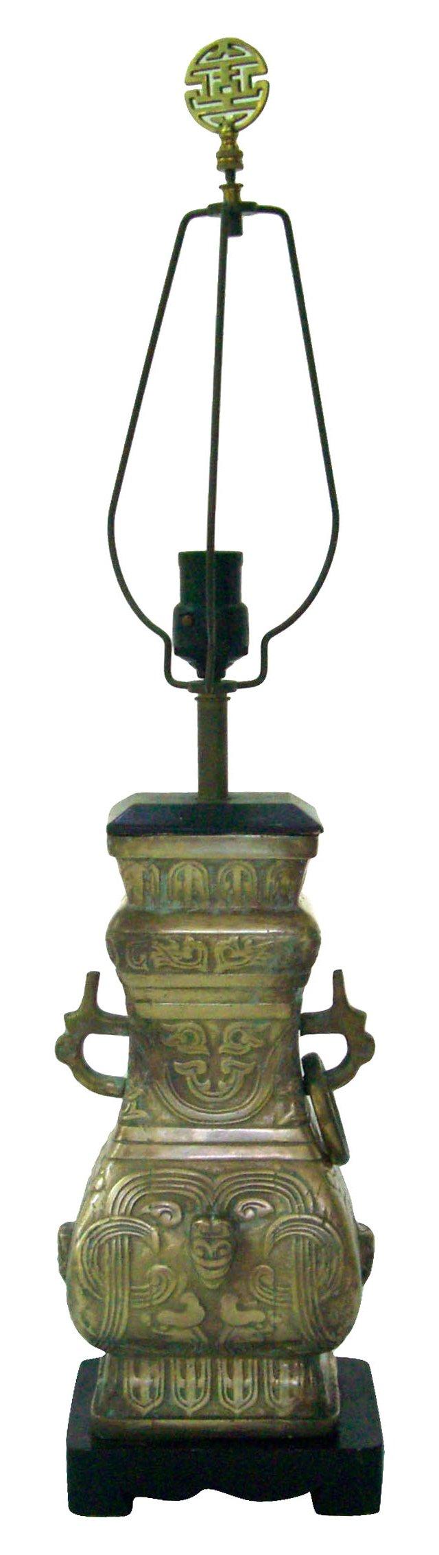 Brass Chinoiserie Lamp