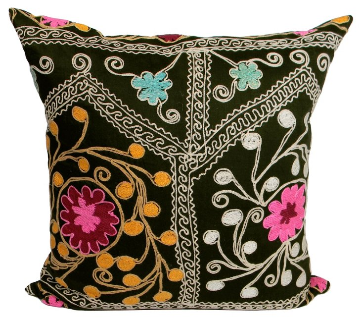 Scrolling Floral  Suzani Pillow