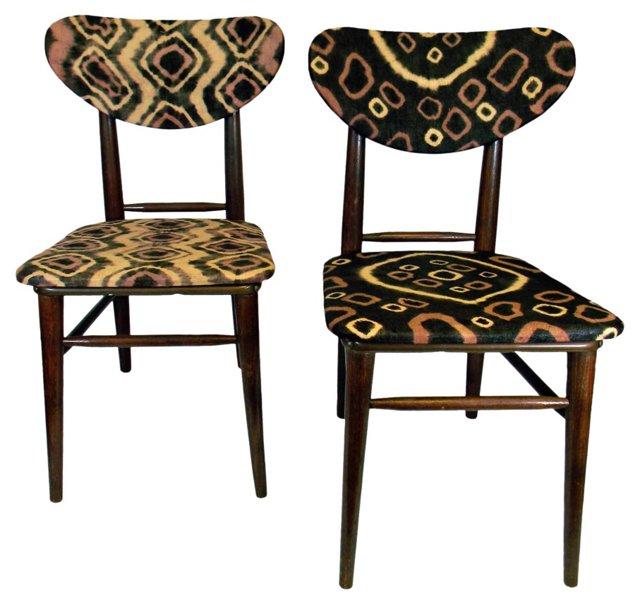 Midcentury Chairs w/ Kuba Cloth, Pair