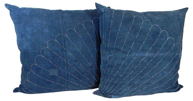 Fans Sashiko Boro   Pillows, Pair
