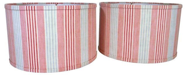 French Ticking Shades, Pair