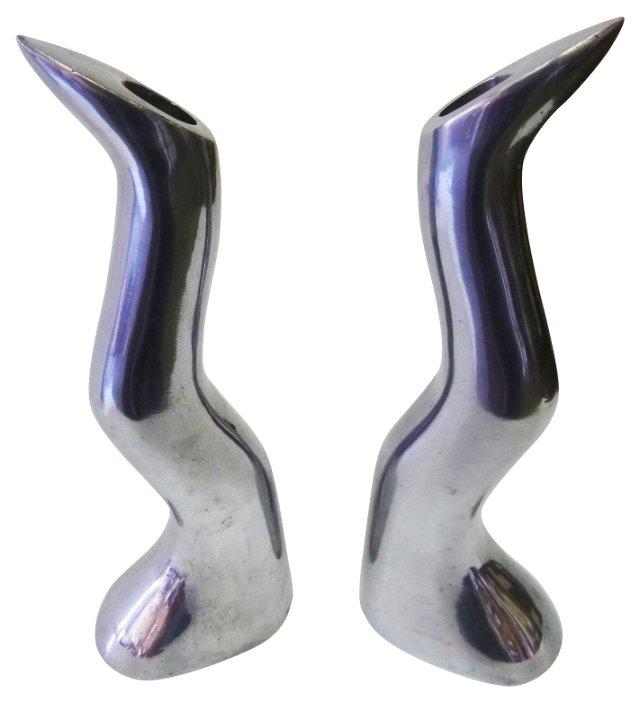 Efverlund Aluminum Candlesticks, Pair