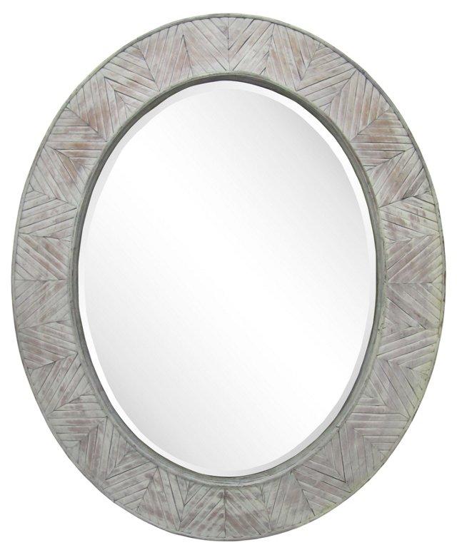 Whitewashed Wood Frame Mirror
