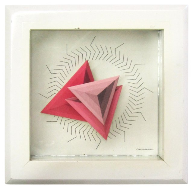 1980s Pink Triangles Table Clock