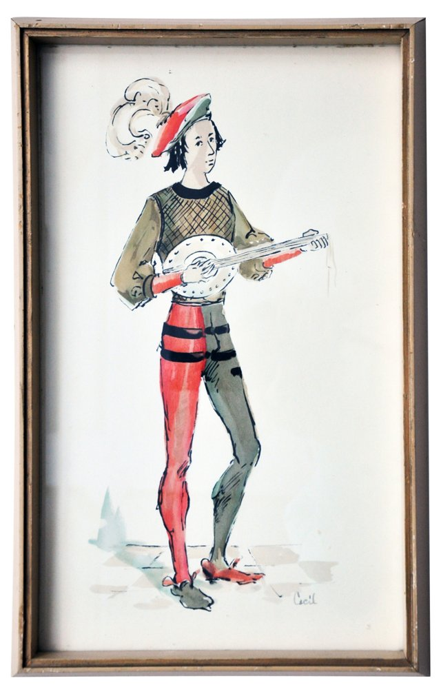 Court Musician Drawing by Cecil