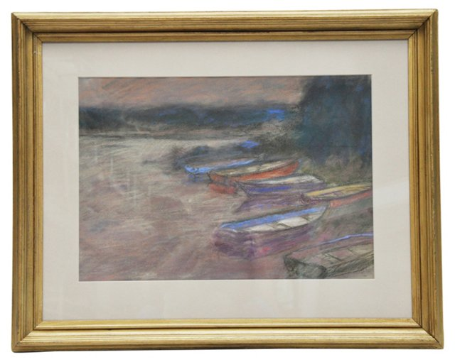 Boats on the Shore, Signed