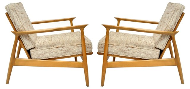 Danish Modern Chairs by Selig, Pair
