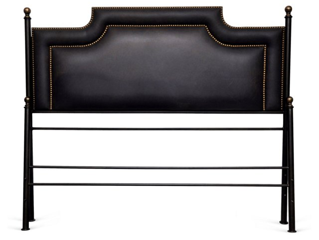 Black Leather Bed w/ Nailheads, King