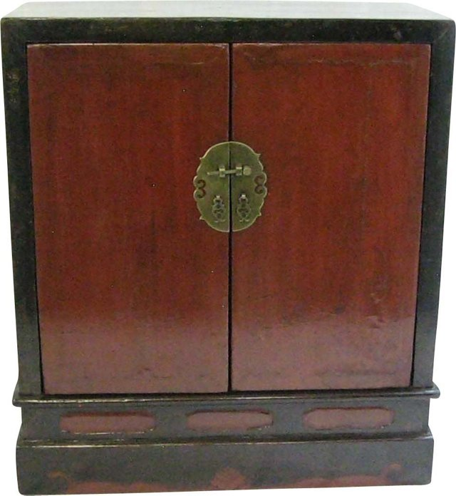 19th-C. Red Lacquer Seated Box Cabinet