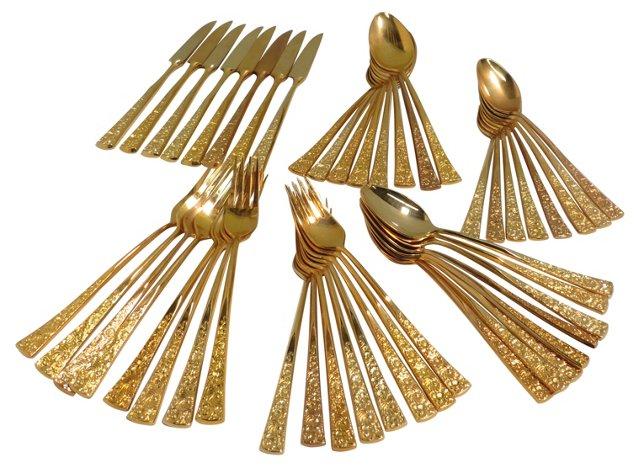 Gold-Plated Flatware Set, 48 Pcs