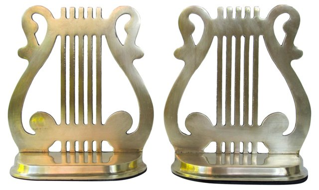 Lyre Bookends, Pair