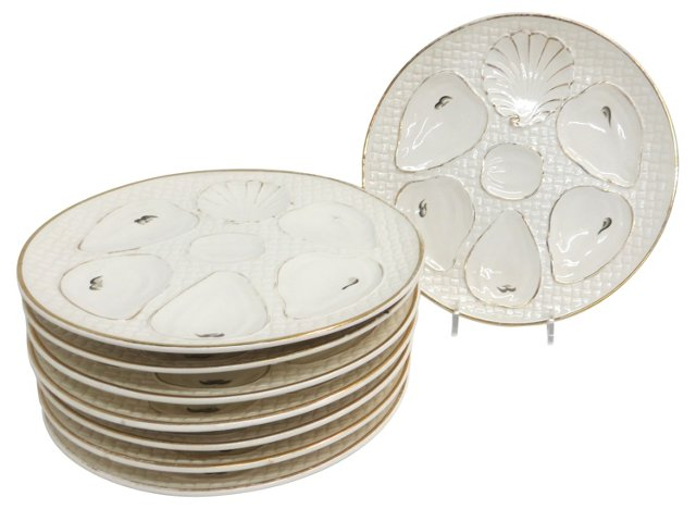 19th-C. Oyster Plates, S/8